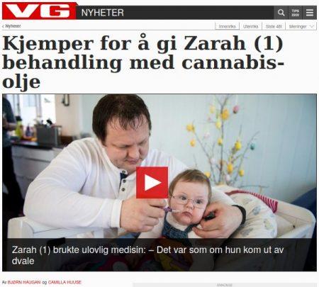 VG: «Kjemper for å gi Zarah (1) behandling med cannabis-olje»