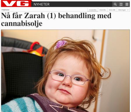 VG: «Nå får Zarah (1) behandling med cannabisolje»